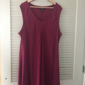 Eileen Fisher linen shift dress in berry
